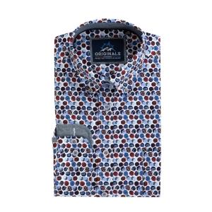Overhemd Blauw Rood Bolletje
