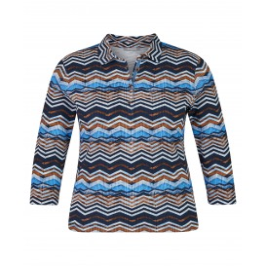 Poloshirt Marine Cognac Zigzag
