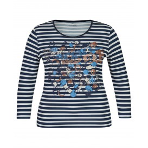 Shirt Marine Cognac Streep Cirkel Dessin