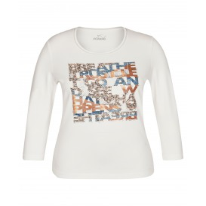 Shirt Natur Mittelblau Cognac Print