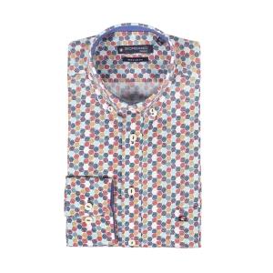 Overhemd Oker Rood Petrol Dessin