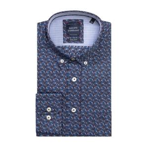 Overhemd Marine Bordeaux Printje