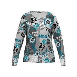 Shirt Pauwblauw Grijs Zwart Bloem