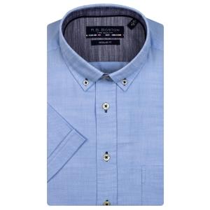 Overhemd Lichtblauw Linnenlook KM