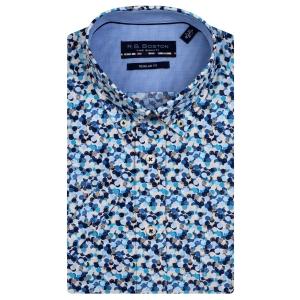 Overhemd Blauw Zand Spatjes KM