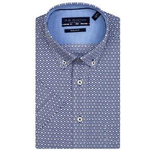 Overhemd Marine Groen Patroontje KM
