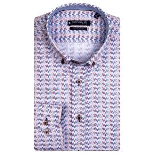 Overhemd Bordeaux Zand Printje