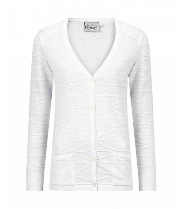 Vest Knoop Off-White Ribbeltje
