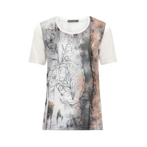 Shirt Zand/Grijs Bloemmotief