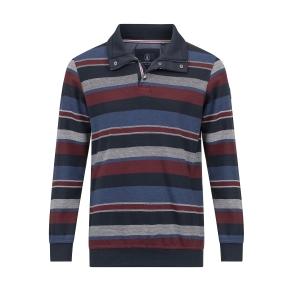 Polosweater Marine Bordeaux Streep