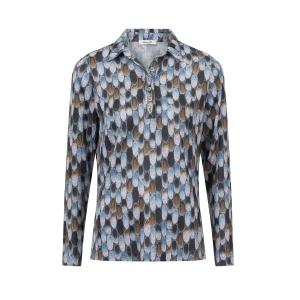 Poloshirt Bleu Cognac Ovaaltjes